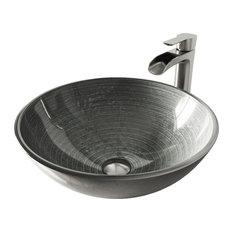 VIGO Simply Silver Glass Vessel Bathroom Sink and Niko Faucet Set