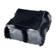 Luxury Long-Haired Striped Faux Fur Throw, Black