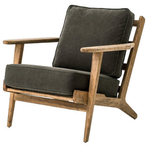 Pierre Lounge Chair Distressed Washed Old Oak