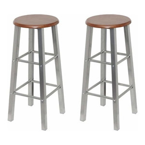 Modern 2-Bar Stools With Grey Finished Steel Frame and MDF Top With Two Footrest