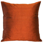 """Pillow Decor Ltd. - Pillow Decor Sankara Silk Throw Pillows 20""""x20"""", Burnt Orange - Made from 100% genuine Indian dupioni silk, the 20x20 Sankara Silk pillows are available in a range of dazzling colors. This natural silk fabric is characterized by random slubs and variations in the silk threads. This is feature of a high quality dupioni silk and is what gives the fabric is wonderful depth and texture."""
