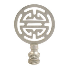Lamp Finals, Brushed Pewter Color Asian Symbol