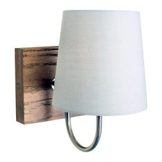 Cassis Natural Wood Wall Sconce With Light Grey Shade