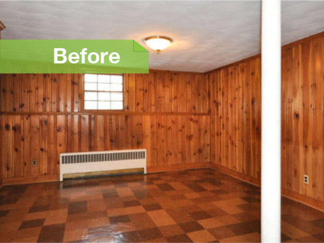 Knotty to nice painted wood paneling lightens a room 39 s look How to cover old wood paneling