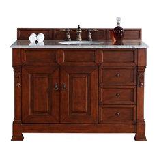 "48"" Vanity Cabinet, Drawers, Warm Cherry, Santa Cecilia Stone Top"