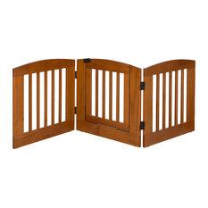 "Ruffluv 3 Panel Expansion Pet Gate with Door, Medium 24"", Chestnut"