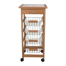 Modern Trolley Cart, Solid Pine Wood With Ceramic Top, Drawer and Metal Basket