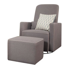 DaVinci Olive Glider and Ottoman, Gray With Cream Piping, M11687GCM
