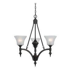 Cal Lighting Rockwood 3-Light Iron Chandelier, Dark Bronze