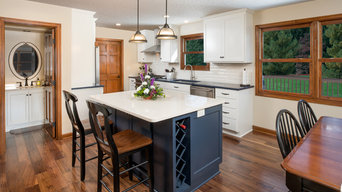 Transitional Blue Island Kitchen