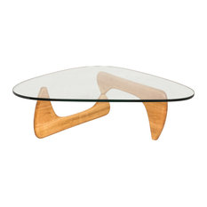 LeisureMod Imperial Modern Glass Top Wooden Base Triangle Coffee Table, Natural
