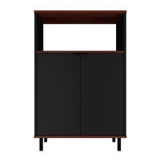 Mosholu Accent Cabinet Black And Nut Brown
