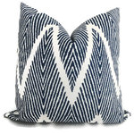 "20""x20"" Ikat Chevron Pillow Cover, Blue and White - *Please Note**"