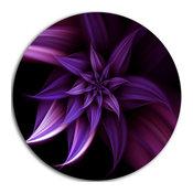 "Fractal Flower Purple, Floral Digital Art Disc Metal Artwork, 11"""