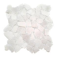"12""x12"" Snow White Flat Pebble Stone Tile Sheet"