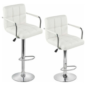 Modern Set of 2 Bar Stools, White Faux Leather With Back, Arm and Footrest