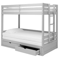 Jasper Twin-King Extending Day Bed With Bunk Bed and Storage Drawers, Dove Gray