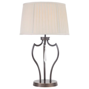 Table Lamp With Curved Spike Design, Dark Bronze