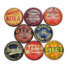 Vintage Soda Cap Cabinet Knobs, 8-Piece Set, Set E
