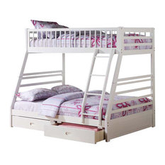 Jason Bunk Bed With Drawers, White, Twin Over Full