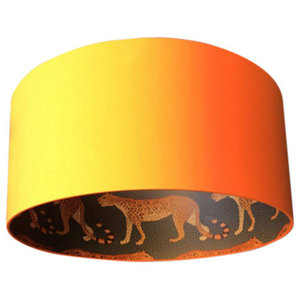 Silhouette Cotton Lampshade, Leopard in Tangerine, 40x23cm