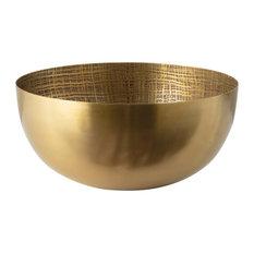 Plaid Etched Bowl, Antique Brass
