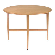 """Winsome Hannah 42"""" Round Drop Leaf Casual Dining Table in Light Oak Finish"""