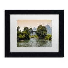 "Philippe Hugonnard 'Tree Moon' Art, Black Frame, White Matte, 14""x11"""