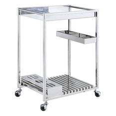Contemporary All Metal Tea Cart - Polished Stainless Steel