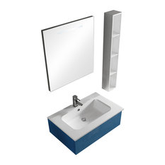 Sirio Azzurro Wall-Mounted Vanity Unit Set, With Vertical Storage Shelf