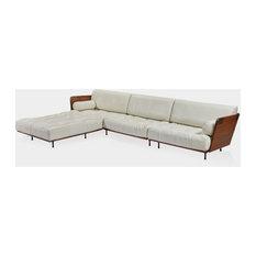 132 W Viliana Palmwood tropical mountain 4 seater w Ottoman White leather
