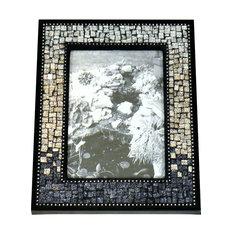"5""x7"" Artisan Mosaic Picture Frame, Gun Metal Gray, Champagne, Silver Ombre"