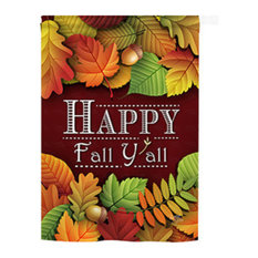 Harvest & Autumn Happy Fall Y All 2-Sided Vertical Impression House Flag