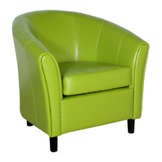 GDFStudio - Newport Green Leather Club Chair - Armchairs and Accent Chairs