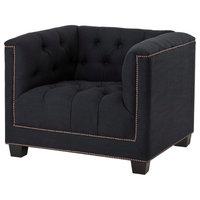 "Black Lounge Chair, Eichholtz Paolo, Black, 37""x33""x29"""