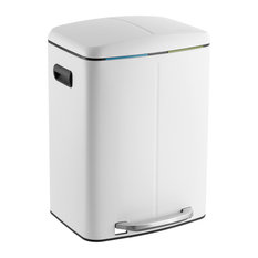 Marco Rectangular 10.5-Gallon Double Bucket Trash Can With Soft-Close Lid, White