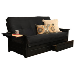 Awesome Mesa Frame Futon With Black Finish Storage Drawers Squirreltailoven Fun Painted Chair Ideas Images Squirreltailovenorg
