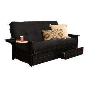 Tremendous Vidaxl Sofa Bed W Drawers And Ottoman Black Artificial Inzonedesignstudio Interior Chair Design Inzonedesignstudiocom