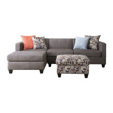Divano Roma Furniture - 3-Piece Microsuede Reversible Sectional Sofa With Ottoman Leaf Pattern, Gray - Sectional Sofas