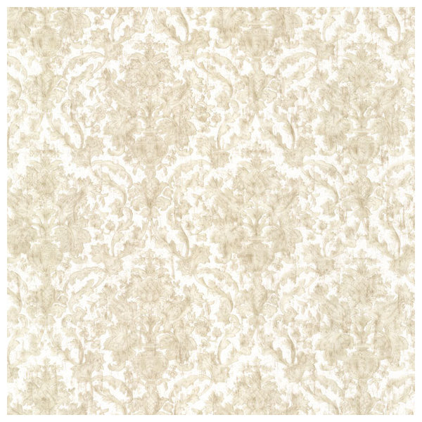 Brewster Island Grey Faux Grasscloth Wallpaper Fd23285: Majestic Beige Scrolling Damask Wallpaper