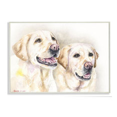 """Dog Friends Pet Animal Watercolor Painting Wooden Wall Art, 18""""x12"""""""