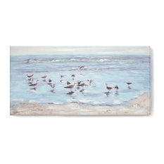 Large Wall Art Canvas With Bird Foraging On Blue Beach Oil Painting