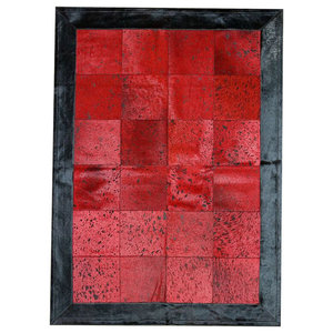 Patchwork Leather Cubed Cowhide Rug, Red Acid With Black Border, 200x300 cm