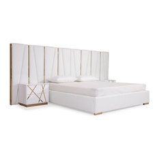Modrest Nixa Modern White Bonded Leather and Gold Bed