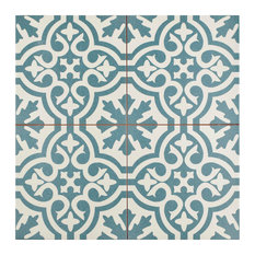 "17.63""x17.63"" Catarina Ceramic Tiles, Set of 5, Blue"