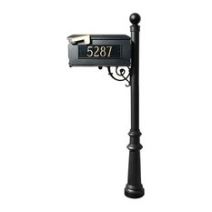 Mailbox Post System-Fluted Base, Ball Finial, Black