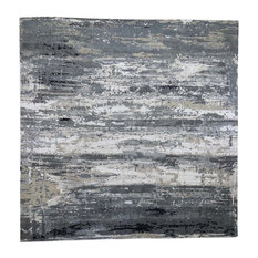Gray Abstract Design Wool and Silk Hand-Knotted XL Square Rug, 12'x12'