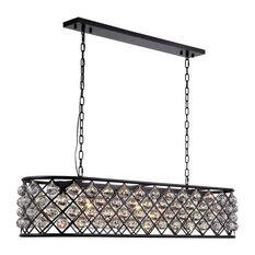 Elegant Lighting Madison 7-Light Crystal Chandelier, Matte Black, Crystal Clear