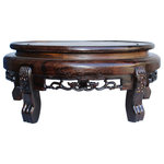"""Golden Lotus - Chinese Brown Wood Round Table Top Stand Display Easel 10.75"""" Hws129A - This is a handmade Chinese accent decorative display stand made of wood with oriental relief motif accent around the body and natural wood pattern."""