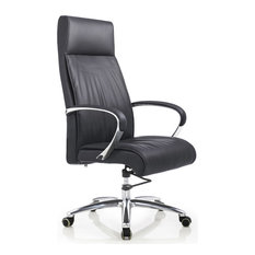 Forbes Genuine Leather Aluminum Base Chair, Black